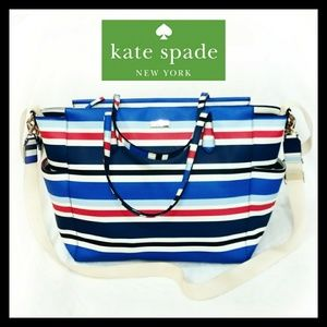 Kate Spade Striped Large Diaper Crossbody Tote Bag